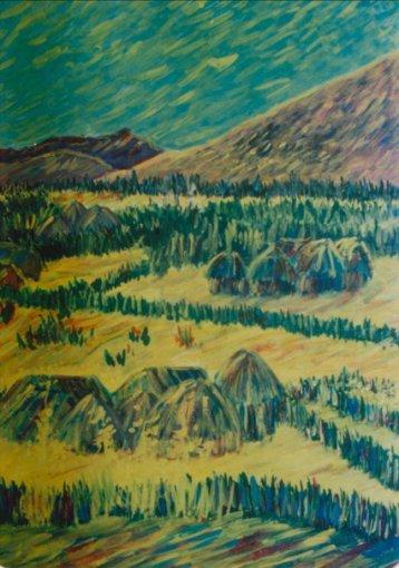 Aditi Raychoudhury. Landscape. 1983. Gouache on Paper.