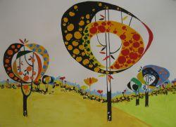 "Aditi Raychoudhury. Land of Plenty (In Yellow). 2009. 17"" x 14"". Colored Pencils on Tracing Paper."
