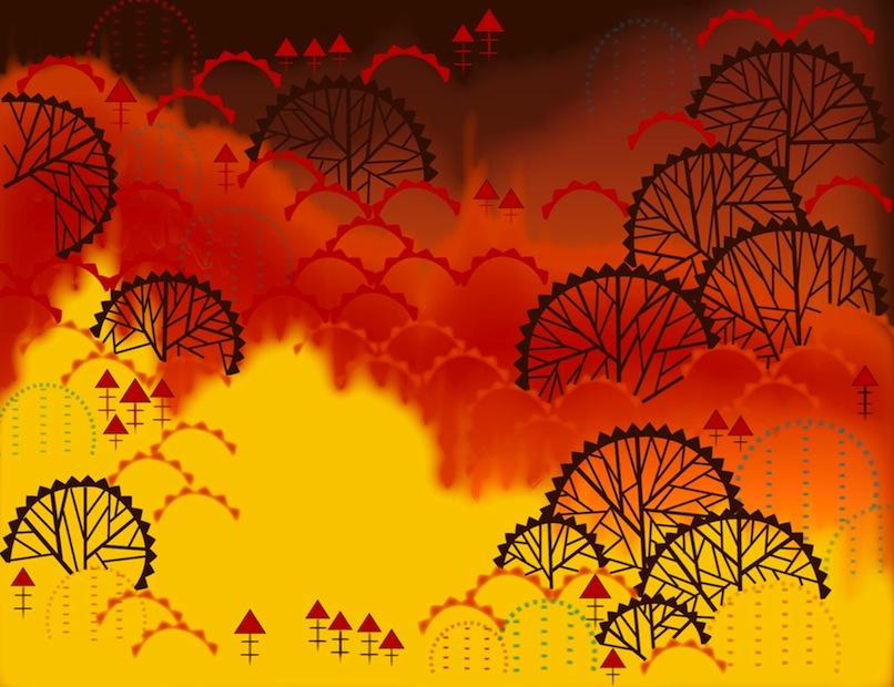Aditi Raychoudhury. Forest Fire. 2009. Adobe Illustrator CS.