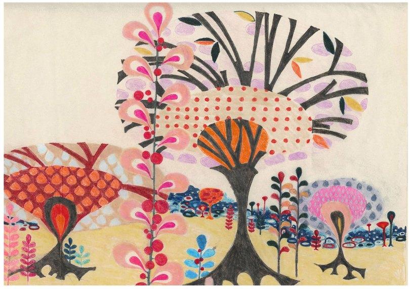 "Aditi Raychoudhury. Land of Plenty (In Pink). 2009. 17"" x 14"". Colored Pencils on Tracing Paper."