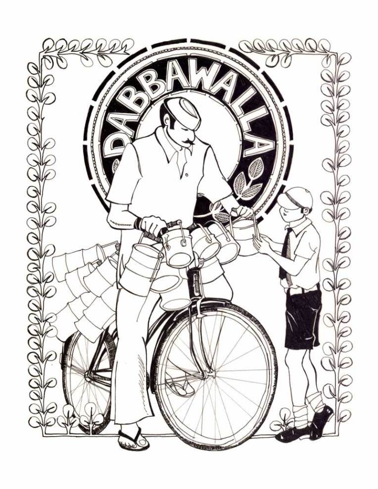 Aditi Raychoudhury. Dabbawalla. 2006. Pen and Ink.