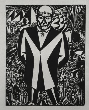 Frans Masereel. Geschäftsmann (Businessman). 1920. Woodcut.