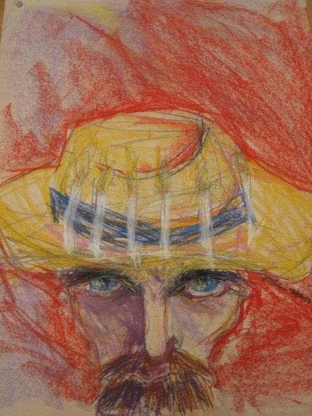 """Study for """"Portrait of Vincent Van Gogh (with Candles)"""". Chalk Pastels and Charcoal on Newsprint. 18"""" x 24""""."""