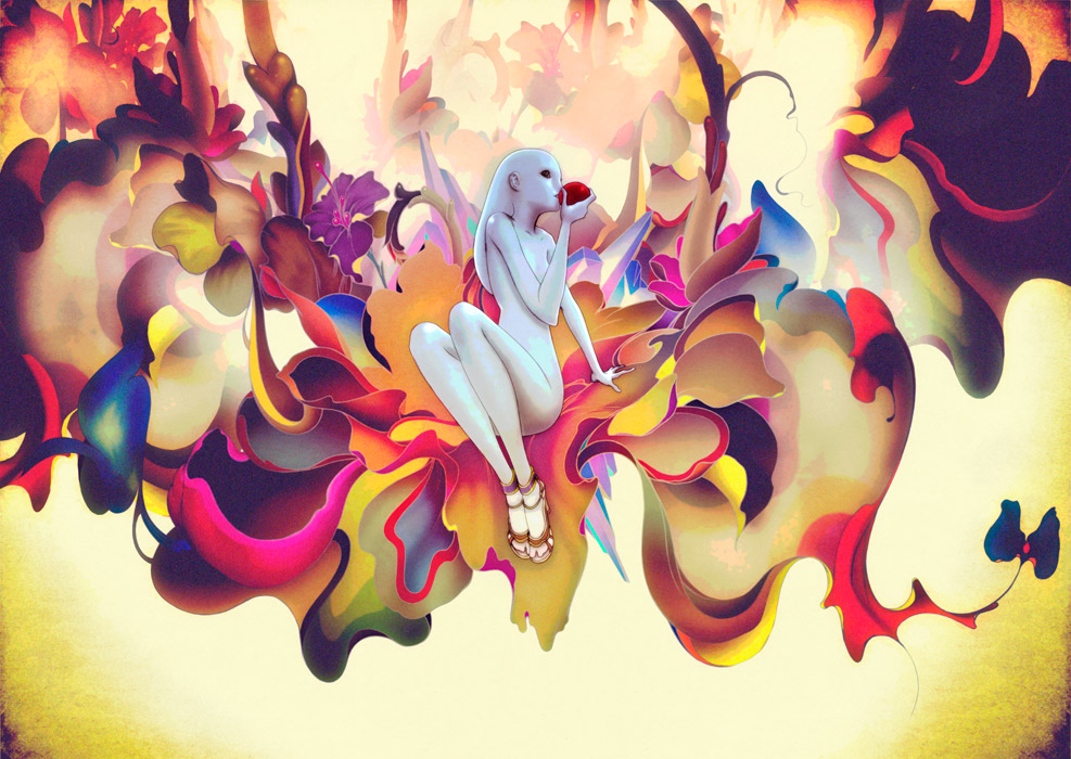 James Jean. Concept Art for Trembled Blossoms, animated film for Prada S/S 08. Mixed media, variable sizes, 2007-2008.