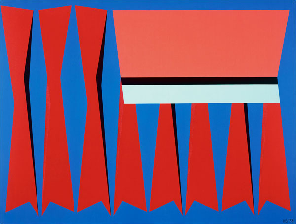 Karl Benjamin. Red, Blue, Pink. 1958. Oil on Canvas.