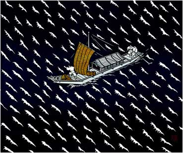 Miyata Masayuki. The Floating Bridge of Dreams (Yume no Ukihashi). From the Tale of Genji. 2001. Kiri-e.