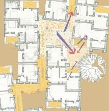 Aditi Raychoudhury. Plan of Guestroom Cluster. Luxury Resort, Jaisalmer, India. 1994.