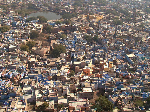 Clustered buildings. Jaisalmer, India.