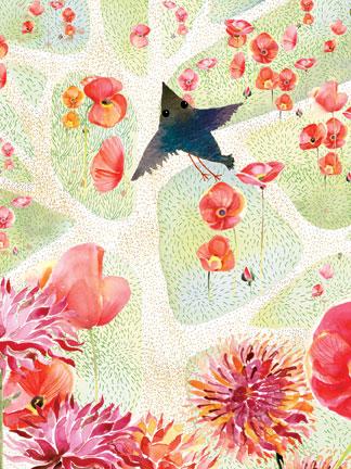 Masha D'Yans. Poppy Fields and Bird.