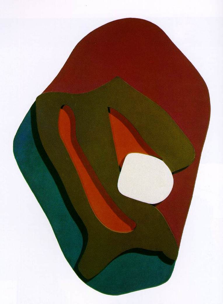 Hans Arp. Enak's Tears (Terrestrial Forms). 1917. Painted wood, 34 x 23 1/8 x 2 3/8""