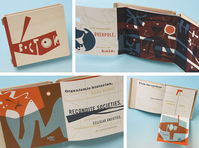 Michael Bartalos. Vostok. Medium: Letterpress printed from photopolymer plates, and screenprint on French Dur-o-Tone cover stock. Coptic-bound signatures cased in hinged wooden covers. Edition: 30 signed and numbered copies, 1 BAT, 3 PPs, 3 DPIs, 4 APs. Publisher: Dolphin Press & Print / MICA, Baltimore MD