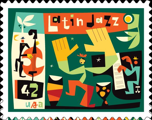 Michael Bartalos. Latin Jazz Stamp.