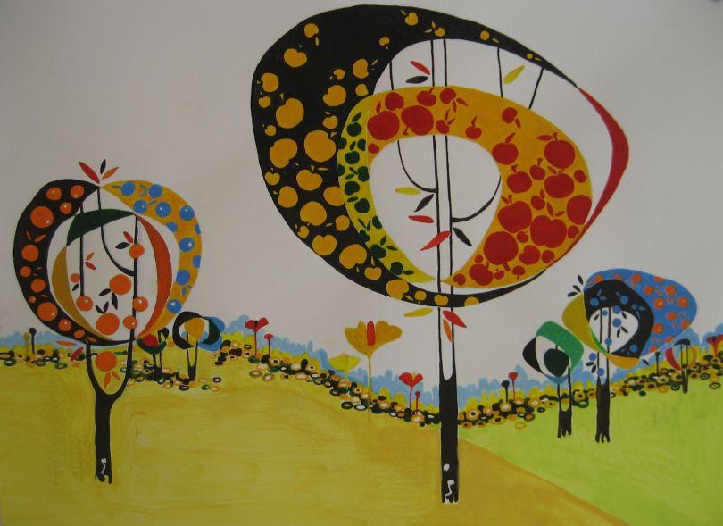 "Aditi Raychoudhury. Land of Plenty (In Orange). 2009. 17"" x 14"". Gouache on Paper."