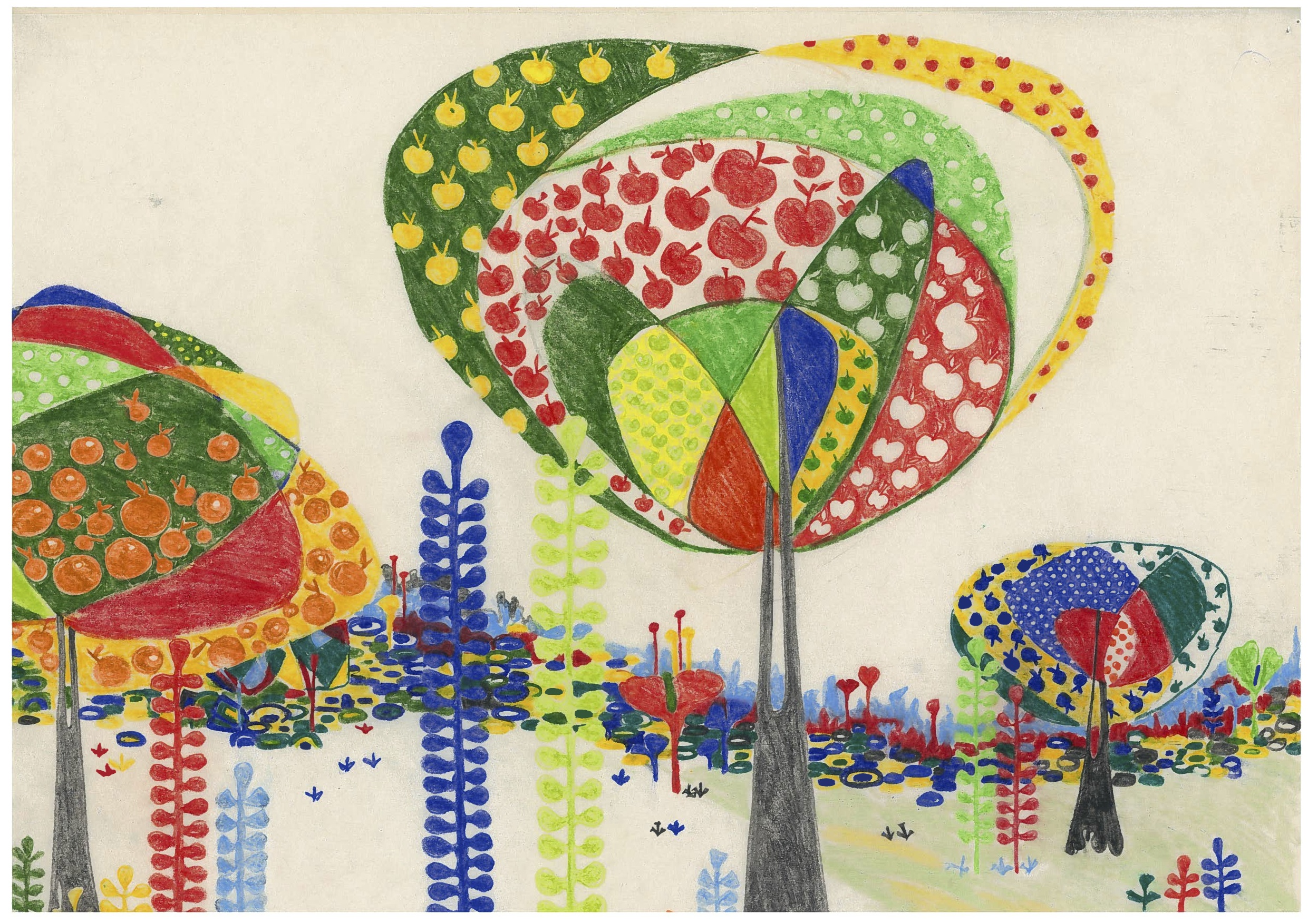 "Aditi Raychoudhury. Land of Plenty (In Primary Colors). 2009. 17"" x 14"". Colored Pencils on Tracing Paper."
