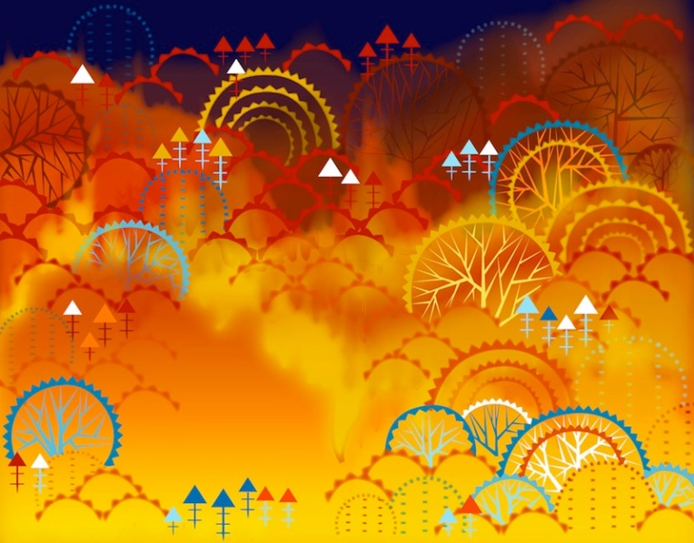 Aditi Raychoudhury. Forest Fire. 2009. Adobe Illustrator CS.
