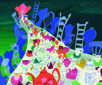 Mary Blair. Alice in Wonderland (The Tea Party). 1951. Gouache.