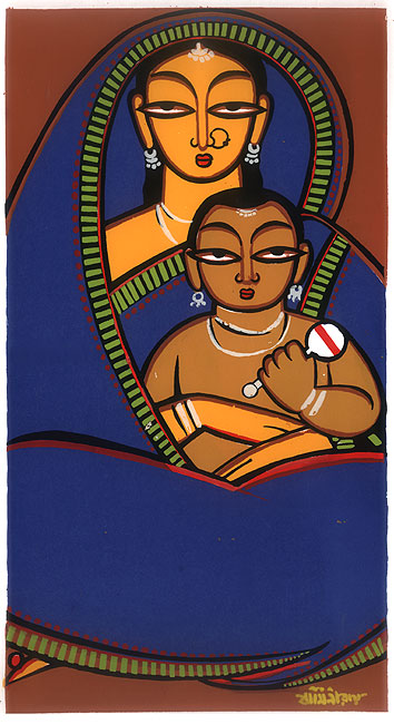 Jamini Roy. Mother and Child. Gouache on fabric mounted on board. 16 5/8 x 11 in. (42.4 x 28 cm.).