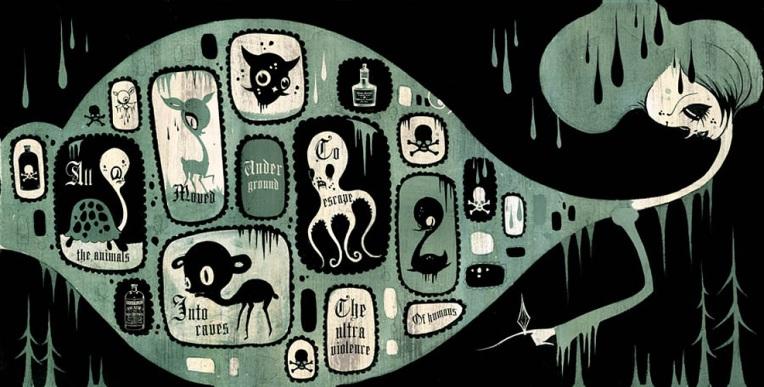Camille Rose Garcia. Subterranean Orphans. 2004. Giclee prints on Canvas.