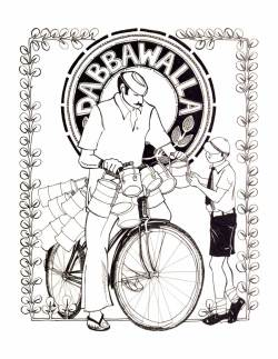 "Aditi Raychoudhury. Dabbawalla. 2004. Pen and Ink. 8 1/2"" x 11""."