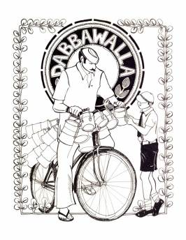 "Aditi Raychoudhury. Dabbawalla. 2004. Pen and Ink. 8 1/2"" x 11""."