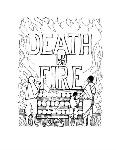 "Aditi Raychoudhury. Death By Fire. 2004. Pen and Ink. 8 1/2"" x 11""."