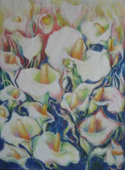 """Aditi Raychoudhury. Forbidden Portent (Study), 2006. Chalk Pastels on Vellum. 14"""" x 17""""."""
