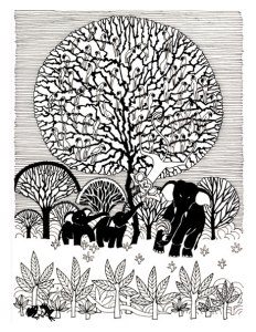 Aditi Raychoudhury. Tree of Life (Frontispiece. Punchtantra by Gautam Bhatia. Penguin, 1998). 1996. Pen and Ink.