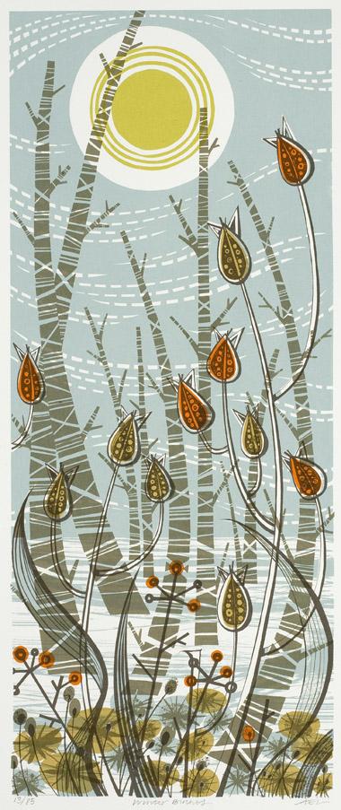 Angie Lewin. Winter Birches. Screenprint.