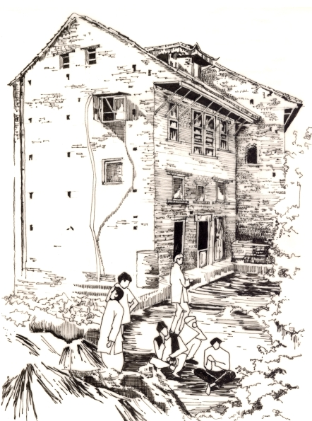 House, Kirtipur, Nepal. 1991. Pen and Ink