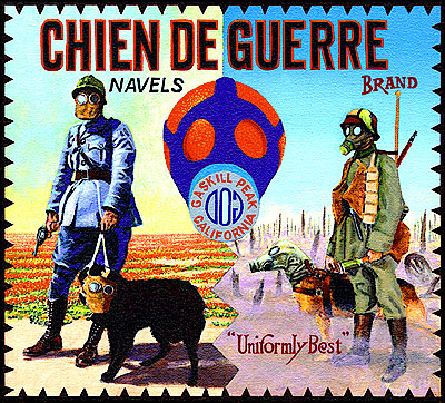 Ben Sakoguchi. Orange Crate Label Series: Chien de Guerre Brand. 2001. Acrylic on Canvas. 10