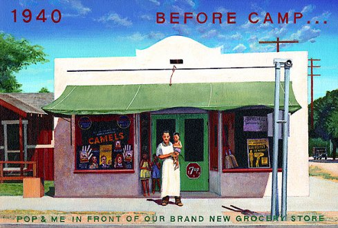 Ben Sakugochi. Post Cards from Camp: Pop and Me in Front of Grocery Store. 16
