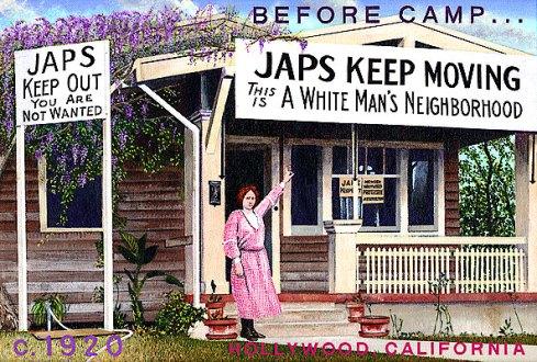 "Ben Sakugochi. Post Cards from Camp: White Man's Neighbourhood. 16"" x 11"". Acrylic on Canvas."