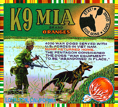 Ben Sakoguchi. Orange Crate Label Series: K9 MIA Brand. 2001. Acrylic on Canvas. 10