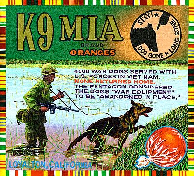 Ben Sakoguchi. Orange Crate Label Series: K9 MIA Brand. 2001. Acrylic on Canvas. 10