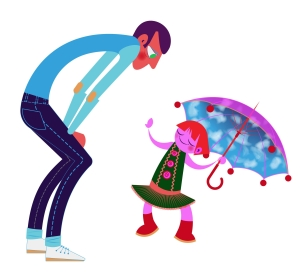 Aditi Raychoudhury. Smarty Panta Girl with Father. 2013. Adobe Illustrator.