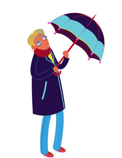 Aditi Raychoudhury. Tall Man With Umbrella. 2013. Adobe Illustrator.