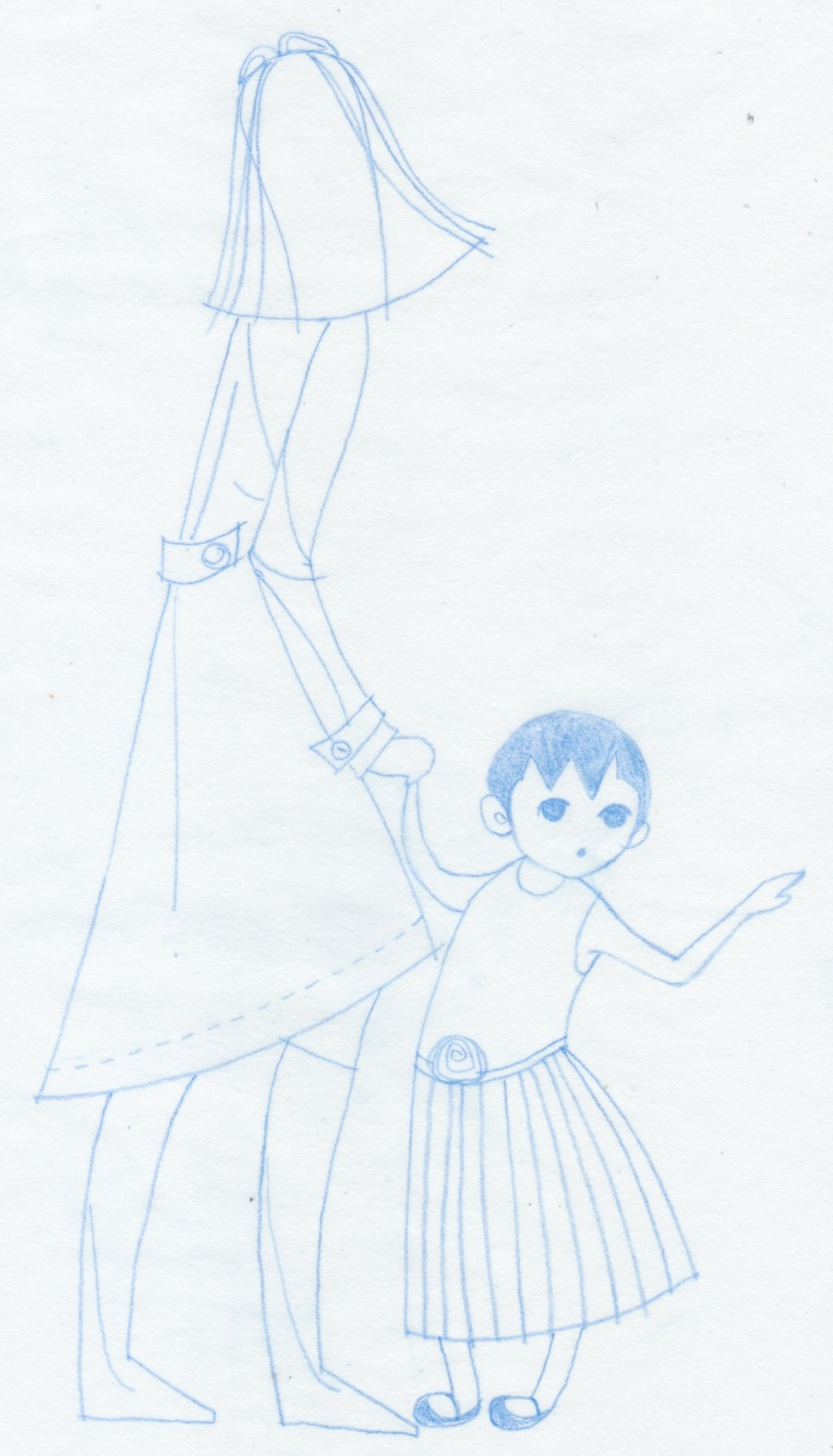 Aditi Raychoudhury. Toddler Girl with Trench Coat Mamma (Refined). 2013. Blue Pencil on Tracing Paper.