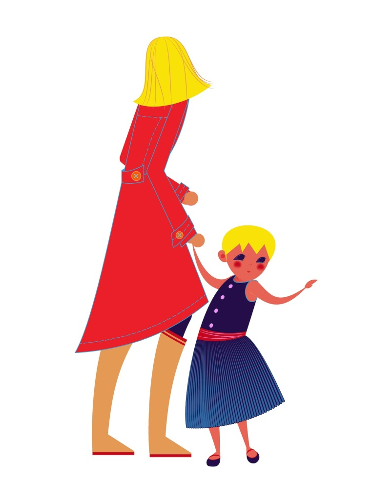Aditi Raychoudhury. Toddler Girl with Trench Coat Mamma. 2013. Adobe Illustrator.