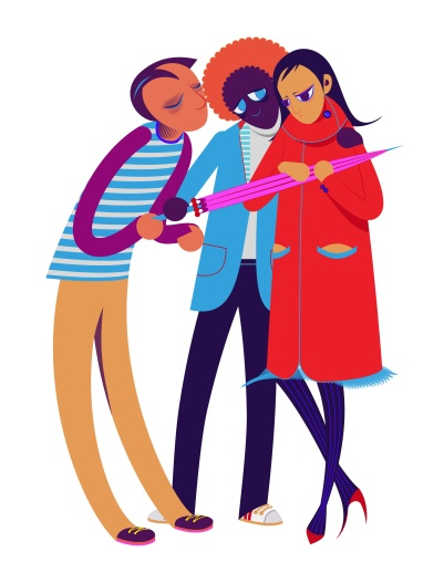 Aditi Raychoudhury. Trio. 2013. Adobe Illustrator CS5.