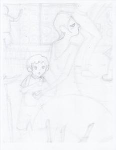 Aditi Raychoudhury. Blue Boy with Mamma. 2013. Pencil on Paper.