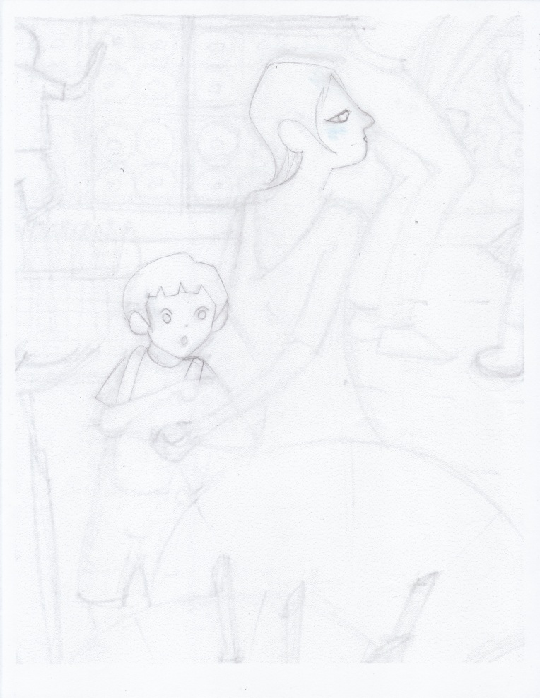 Aditi Raychoudhury. Blue Boy with Mamma. 2013. Pencil on Paper.