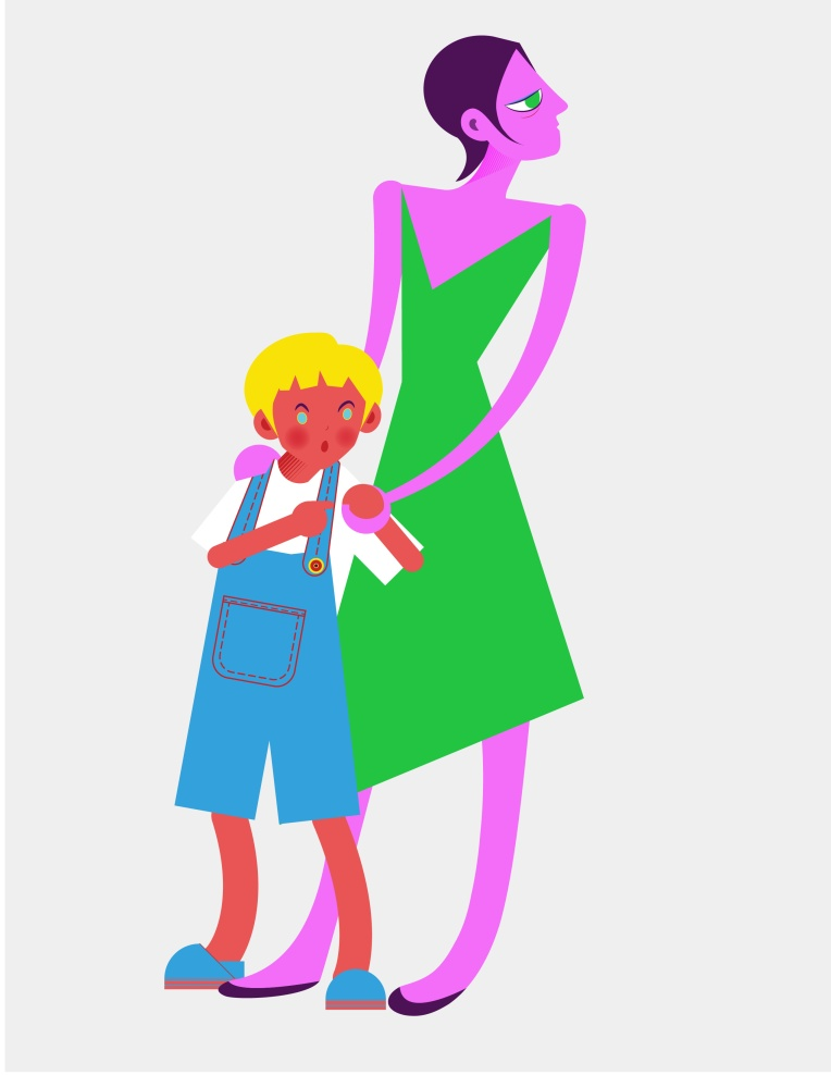 Aditi Raychoudhury. Blue Boy with Mamma. 2013. Adobe Illustrator.