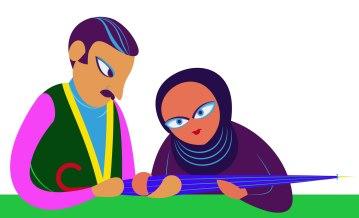 Aditi Raychoudhury. Couple Behind Counter. 2013. Adobe Illustrator.