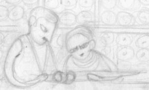Aditi Raychoudhury. Couple Behind Counter. 2013. Pencil on Paper.