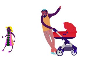 Aditi Raychoudhury. Dad with Stroller and Runaway Girl. 2013. Adobe Illustrator.