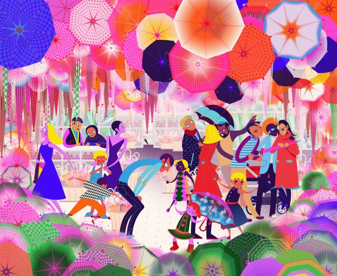 Aditi Raychoudhury. Busy Little Umbrella Store (With Baskets). 2014. Adobe Illustrator CS5.