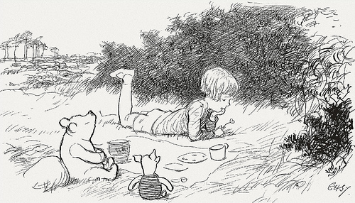 Christopher Robin and Winnie the Pooh. Illustrated by E. H. Shepard. 1926.