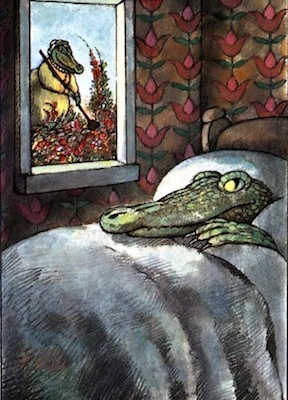 "The Crocodile in the Bedroom. Arnold Lobel. 1980. Graphite, ink, and watercolor on paper. ""Without a doubt, there is such a thing as too much order."""