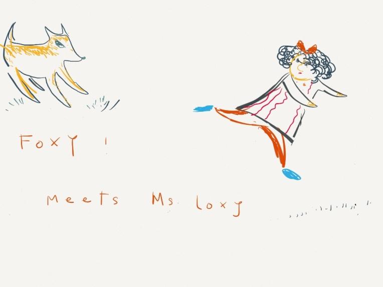 Foxy Meets Miss Loxy. Aditi Raychoudhury. 2/2014. iPad drawing using Paper by 53.