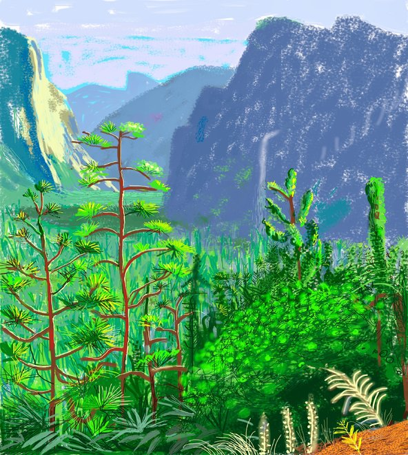 Yosemite I. David Hockney. October 16th, 2011. iPad drawing (Brushes App)